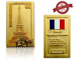 Geocacher's World Geocoin -FRANCE- Satin Gold XLE