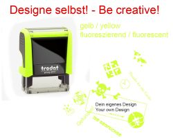Geocaching Stamp with your Design - NEON YELLOW Printy 38x14
