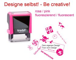 Geocaching Stamp with your Design - NEON PINK Printy 38x14