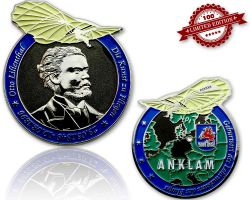 Otto Lilienthal Geocoin Black Nickel/Silver LE 100