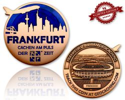 Frankfurt Geocoin Antique Copper - BLUE XLE 75