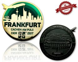 Frankfurt Geocoin Black Nickel / Gold - GREEN XLE 75