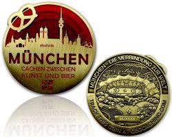 M?nchen Geocoin Antik Gold - ROT