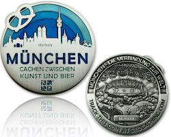 Munich Geocoin Antique Silver - BLUE