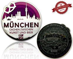 M?nchen Geocoin Black Nickel / Silber - VIOLETT XLE 75