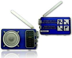 Radio Geocoin (ausklappbare Antenne) Antik Silber