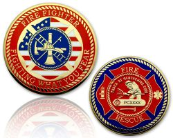 Firefighter (Feuerwehrmann) Geocoin Poliertes Gold