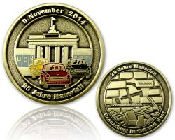 25 Years Fall of the Berlin Wall  Antique Gold RE