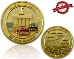 25 Jahre Mauerfall  Geocoin Satin Gold XLE 75