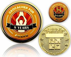 Geo Award Geocoin - 8 Years (incl. Pin)
