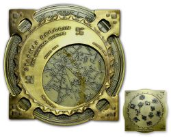 Star Map XXXXL Geocoin Antik Gold Blau