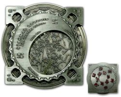 Star Map XXXXL Geocoin Antik Silber Rot