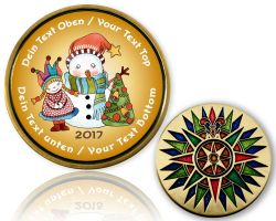 Christmas 2017 - Vintage Geocoin with your Text