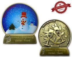 Weihnachtskugel Geocoin Antik Gold mit Gravur XLE 75