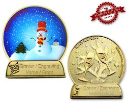 Weihnachtskugel Geocoin Poliertes Gold mit Gravur XLE 75