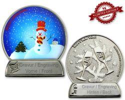 Weihnachtskugel Geocoin Poliertes Silber mit Gravur XLE 75