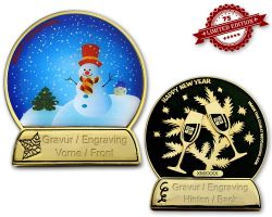 Christmas Ball Geocoin Gold/Black with engraving XLE 75