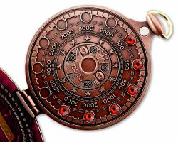 Pocket Cache Counter Geocoin Antique Copper RED XLE 75
