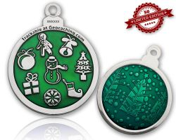 Christmas Ball Geocoin Polished Silver EMERALD XLE 50