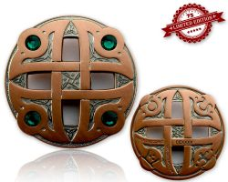 Celtic Fantasy Geocoin Two Tone (Antik Silber / Kupfer) GR?N XLE