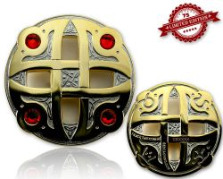 Celtic Fantasy Geocoin Two Tone (Silver / Gold) RED XLE