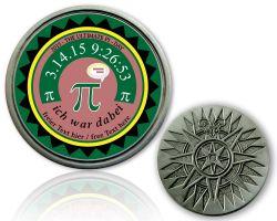 Pi-Day Geocoin mit deinem Text Antik Silber