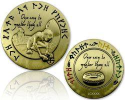 Lord of the Caches - Gollum Geocoin Antique Gold