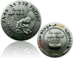 The Lord of the Caches - Gollum Geocoin Antik Silber