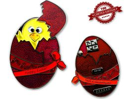 Happy Easter Egg Geocoin Silver Red LE 100