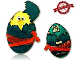 Happy Easter Egg Geocoin Gold Green XLE 75