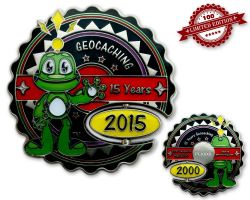 15 Years Geocaching Geocoin Silver Black LE 100