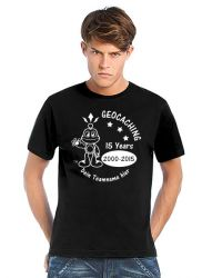 Geocaching T-Shirt | 15 Jahre Geocaching schwarz (optional mit T