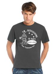 Geocaching T-Shirt | 15 Jahre Geocaching dunkelgrau(optional mit