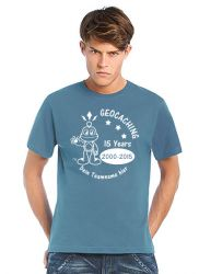 Geocaching T-Shirt | 15 Jahre Geocaching stoneblue (optional mit