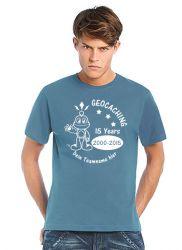 Geocaching T-Shirt | 15 Jahre Geocaching stoneblue (optional mit