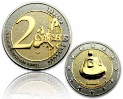 2 Cache Geocoin Silber/Gold RE