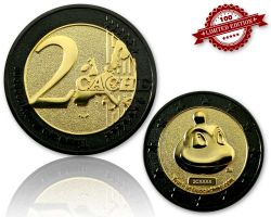 2 Cache Geocoin Black Nickel/Gold LE 100