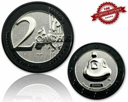 2 Cache Geocoin Black Nickel/Silber LE 100