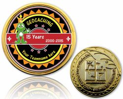 15 Years Geocaching Geocoin with your teamname Gold