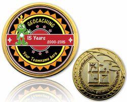 15 Jahre Geocaching Geocoin mit deinem Teamnamen Gold