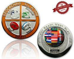 Geocaching - All In One Geocoin 2015 Poliertes Silber XLE 75