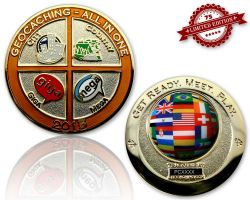 Geocaching - All In One Geocoin 2015 Polished Gold XLE 75