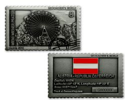 Geocacher's World Geocoin -AUSTRIA- Antik Silber
