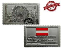 Geocacher's World Geocoin -AUSTRIA- Satin Silber XLE 75