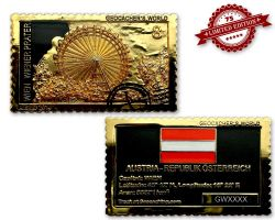 Geocacher's World Geocoin -AUSTRIA- Black Nickel / Gold XLE 75