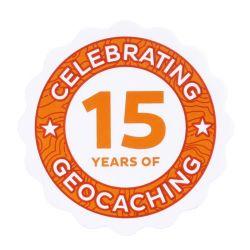 15 Jahre Geocaching Aufkleber / Sticker