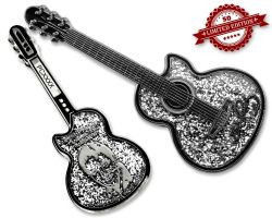 Elvis Guitar Geocoin - Silver Edition XLE 50