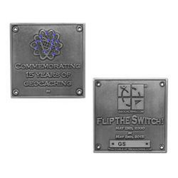 Blue Switch Geocoin Antique Silver LE