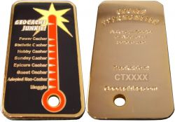 Cacher Thermometer Geocoin Poliertes Gold