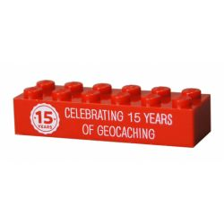 15 Years of Geocaching Trackable LEGO® Brick- Red